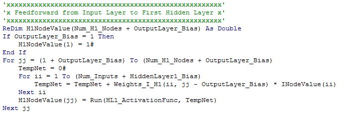 Artificial Neural Network with Backpropagation Training in VBA – Bias Worksheet
